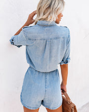 Worth The Trek Pocketed Tencel Romper - Chambray