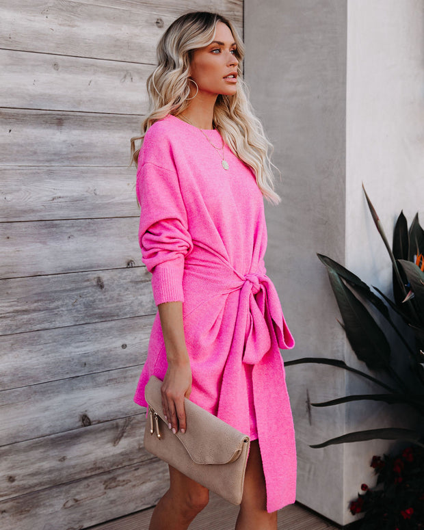 Wrapped Up In You Knit Sweater Dress - Hot Pink
