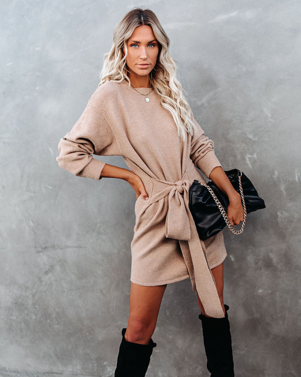 Wrapped Up In You Knit Sweater Dress - Taupe