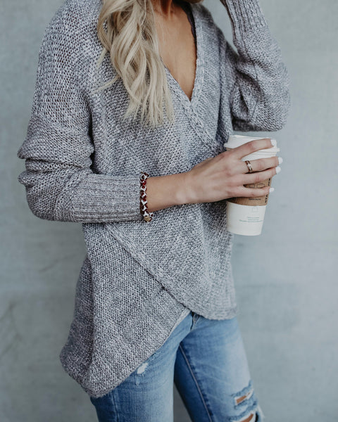 Home For The Holidays Wrap Sweater - Grey