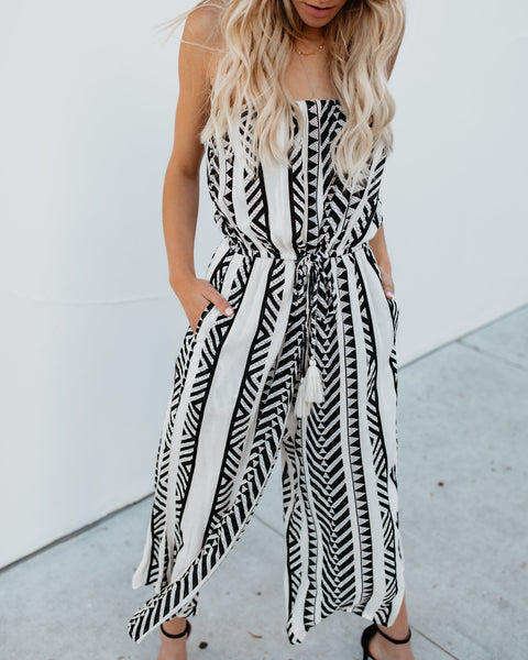 Written In The Sand Strapless Pocketed Jumpsuit