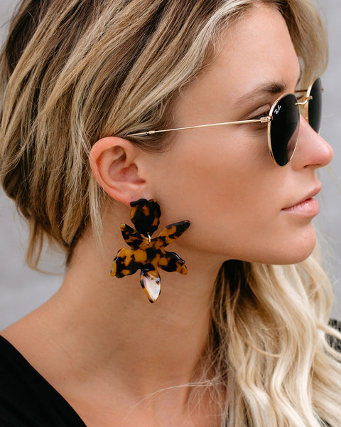 Without Sun Resin Floral Drop Earrings - Tortoise