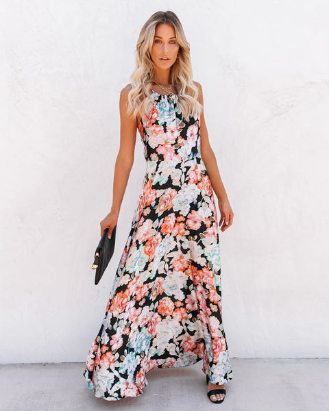 Wyomia Satin Floral Maxi Dress