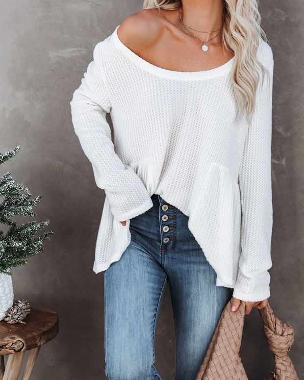 Xenial Cotton Blend Thermal Peplum Top - Marshmallow