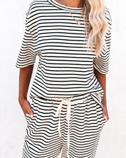 Yael Cotton Blend Striped Knit Top - Black