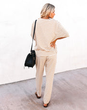 Yael Cotton Blend Pocketed Striped Knit Joggers - Caramel