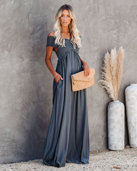 Yarrow Pocketed Off The Shoulder Maxi Dress - Asphalt