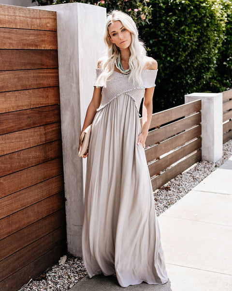 Yarrow Pocketed Off The Shoulder Maxi Dress - Taupe