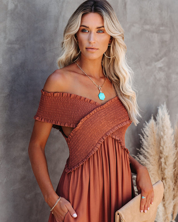 Yarrow Pocketed Off The Shoulder Maxi Dress - Terracotta