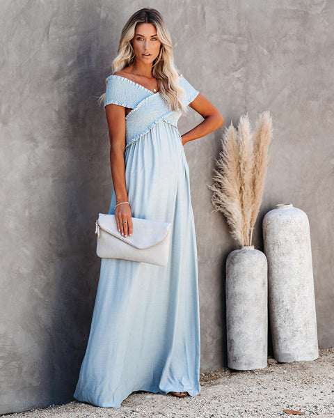 Yarrow Pocketed Off The Shoulder Maxi Dress - Waterlily