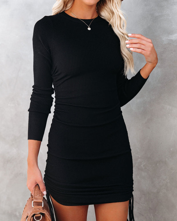 Yasmine Long Sleeve Ruched Knit Dress - Black