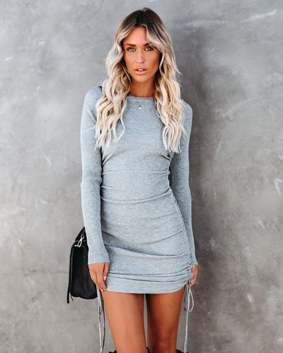 Yasmine Long Sleeve Ruched Knit Dress - Grey