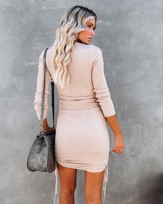 Yasmine Long Sleeve Ruched Knit Dress - Oatmeal