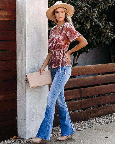 Year Round Velvet Wrap Top - FINAL SALE