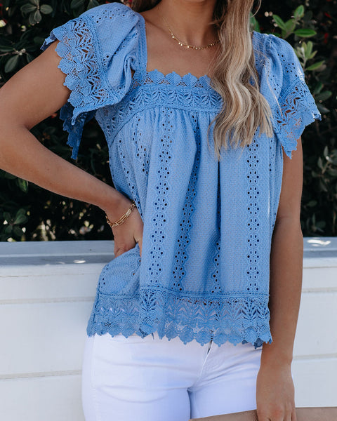 Yes Indeed Cotton Crochet Eyelet Top - Blue