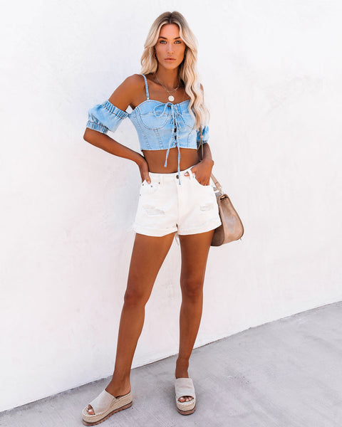 Yonder Denim Lace Up Crop Top