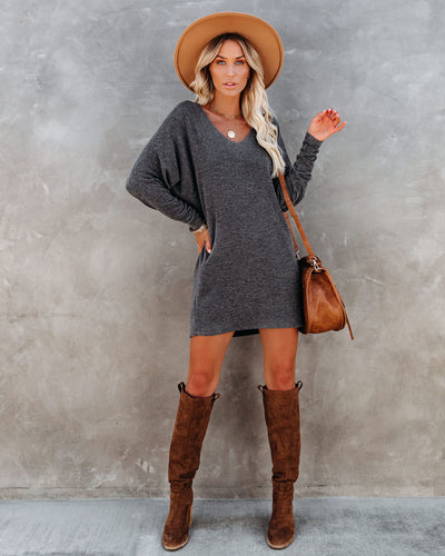 PREORDER - You Belong With Me Dolman Knit Dress - Charcoal