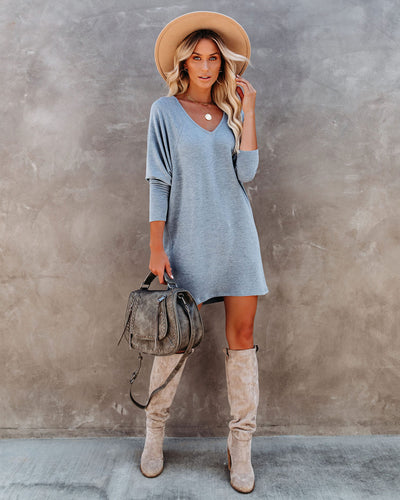 PREORDER - You Belong With Me Dolman Knit Dress - Grey Blue