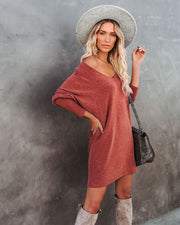 You Belong With Me Dolman Knit Dress - Rust - FINAL SALE