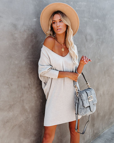 PREORDER - You Belong With Me Dolman Knit Dress - Taupe