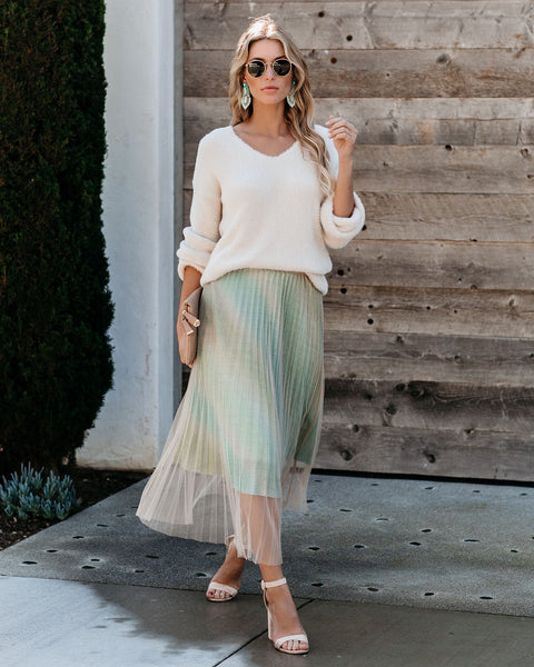 You Deserve It Pleated Tulle Glitter Skirt