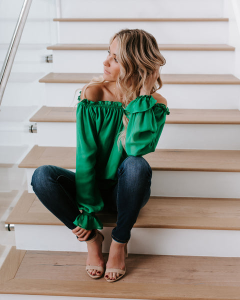 You Drive Me Crazy Off The Shoulder Top - Green