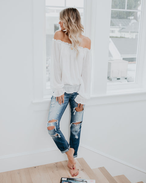 You Drive Me Crazy Off The Shoulder Top - White