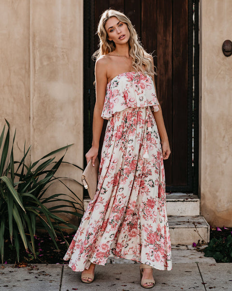 You Had Me At Hydrangea Strapless Maxi Dress