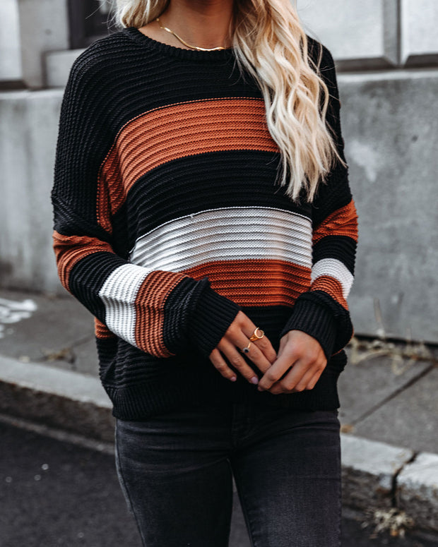 Younes Button Detailed Striped Knit Sweater