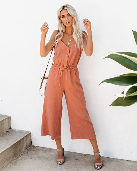 You're All I Sea Cotton Jumpsuit - Rose