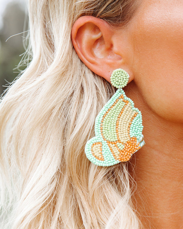 You're Free Beaded Statement Earrings - Mint view 2