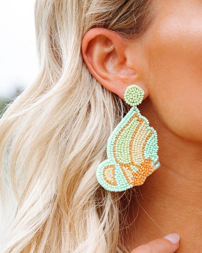 You're Free Beaded Statement Earrings - Mint