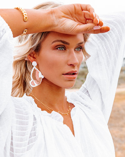 You're Free Beaded Statement Earrings - White
