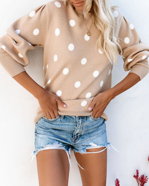 You're Sweet Polka Dot Sweater - Taupe