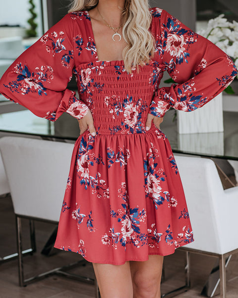 Youthful Blooms Long Sleeve Smocked Dress