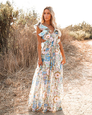 Zabelle Floral Ruffle Cutout Maxi Dress