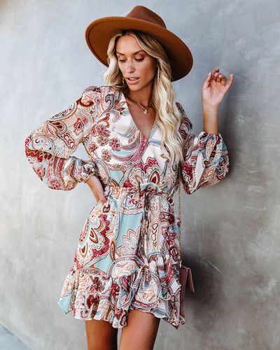 Zandra Paisley Print Ruffle Dress