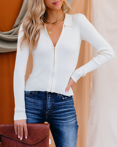 Zaria Collared Zip Up Knit Top - Ivory