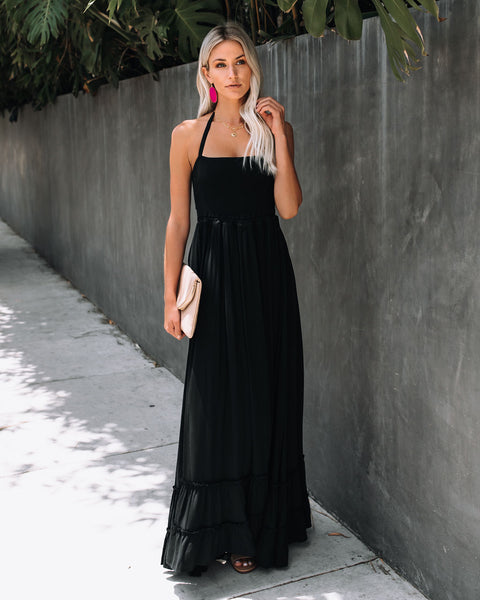 Zayn Smocked Backless Halter Maxi Dress - Black