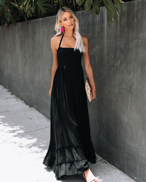 Zayn Smocked Backless Halter Maxi Dress - Black - FINAL SALE