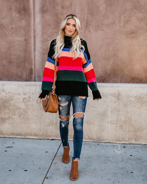 Zelda Striped Knit Sweater - Black - FINAL SALE