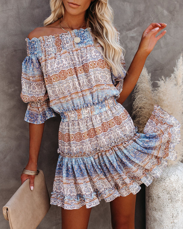 Zephyr Printed Off The Shoulder Dress