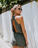 Zoey Pocketed Romper - Olive