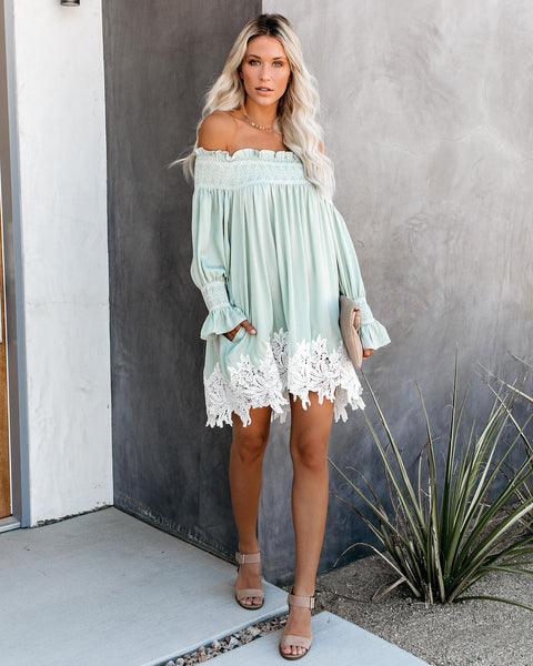 Zuri Off The Shoulder Pocketed Lace Tunic - Mint - FINAL SALE