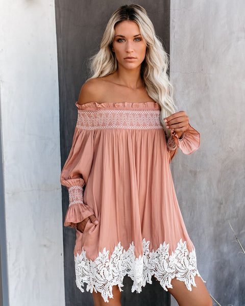Zuri Off The Shoulder Pocketed Lace Tunic - Rose - FINAL SALE
