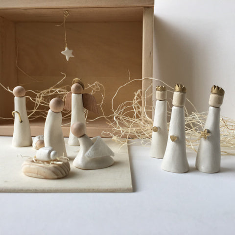 Limited Edition Nativity Set in wood and ceramic by Paloma's Nest