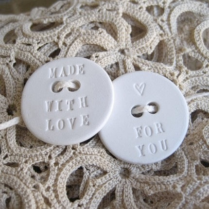 made with love for you ceramic buttons by Paloma's Nest