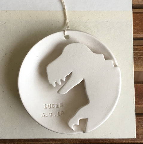 CUSTOM Dinosaur Ornament with name and birthday