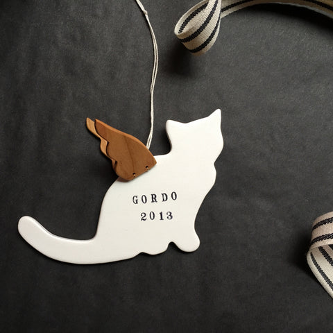 Personalized Cat with Angel Wings Ornament