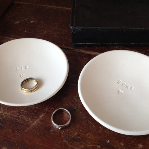 Set of two HIS/HERS/THEIRS tiny ceramic bowls